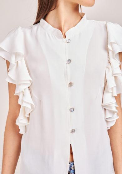 chiara bloom camicia mezza manica in seta bianca