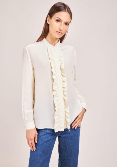 chiara bloom camicia rouches in seta bianca