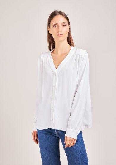 camicia bianca in seta scollo v chiara bloom