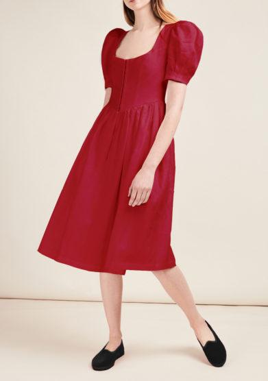 Gioia bini abito clo lino rosso