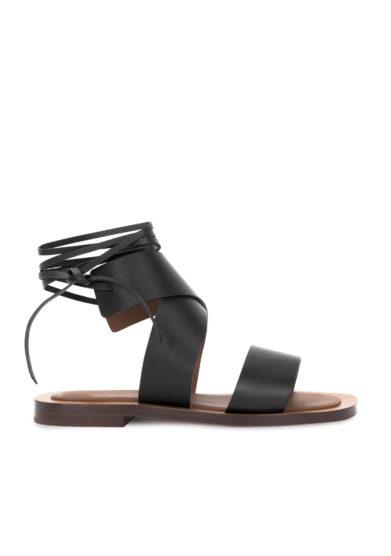 sandali hartley neri in pelle allacciati alla caviglia Ambleme