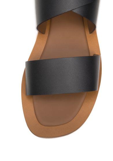 Ambleme sandali hartley neri in pelle allacciati alla caviglia