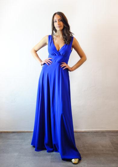 Tenuta di murlo abito lungo Ambra azzurro in seta