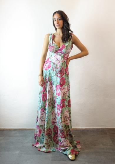 Tenuta di murlo abito lungo Ambra fiori rosa
