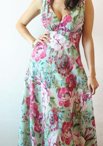 abito lungo Ambra fiori rosa tenuta di murlo