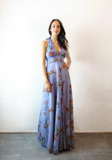 Tenuta di murlo abito lungo Amelia lilla fantasia floreale