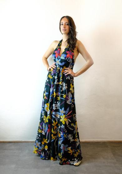 Tenuta di murlo abito lungo Amelia nero fantasia floreale