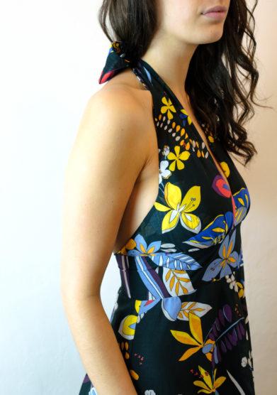 abito lungo Amelia nero fantasia floreale tenuta di murlo