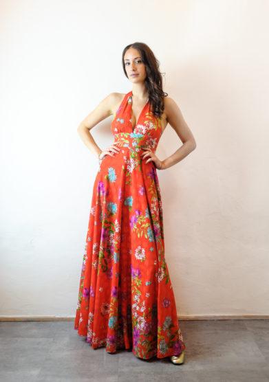 Tenuta di murlo abito lungo Amelia rosso fantasia floreale
