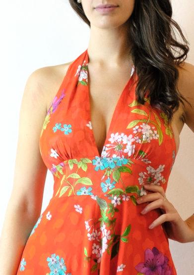 Tenuta di murlo abito lungo Amelia fantasia floreale rosso
