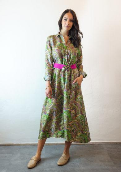 Tenuta di murlo chemisier stampa paisley verde cintura