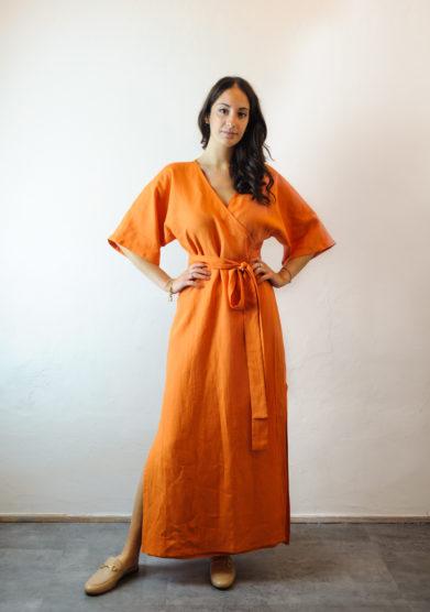 Tenuta di murlo kimono in lino arancione