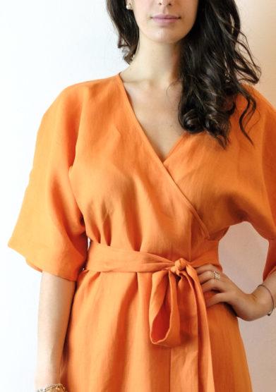 kimono in lino arancione Tenuta di murlo
