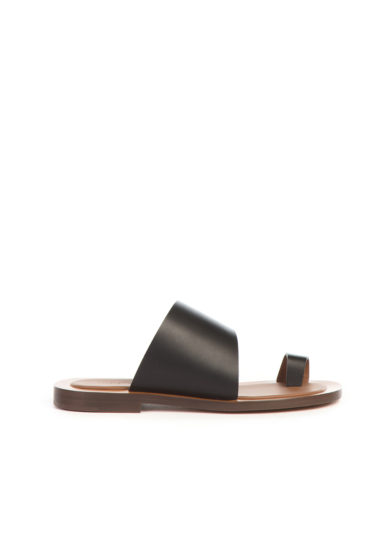 Ambleme sandali malaparte in pelle infradito nera