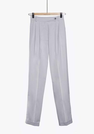 Chiara Bloom pantalone perfect pants cotone grigio ghiaccio