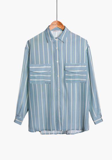 Chiara bloom camicia Jasmine in seta azzurra a righe