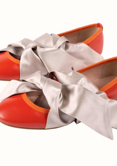 Grand hotel tremezzo bow ballerina in pelle arancio
