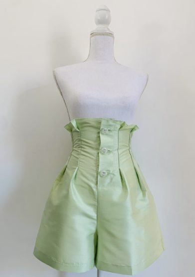 Le globazine shorts agra in seta verde acqua
