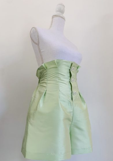 shorts agra in seta verde acqua le globazine