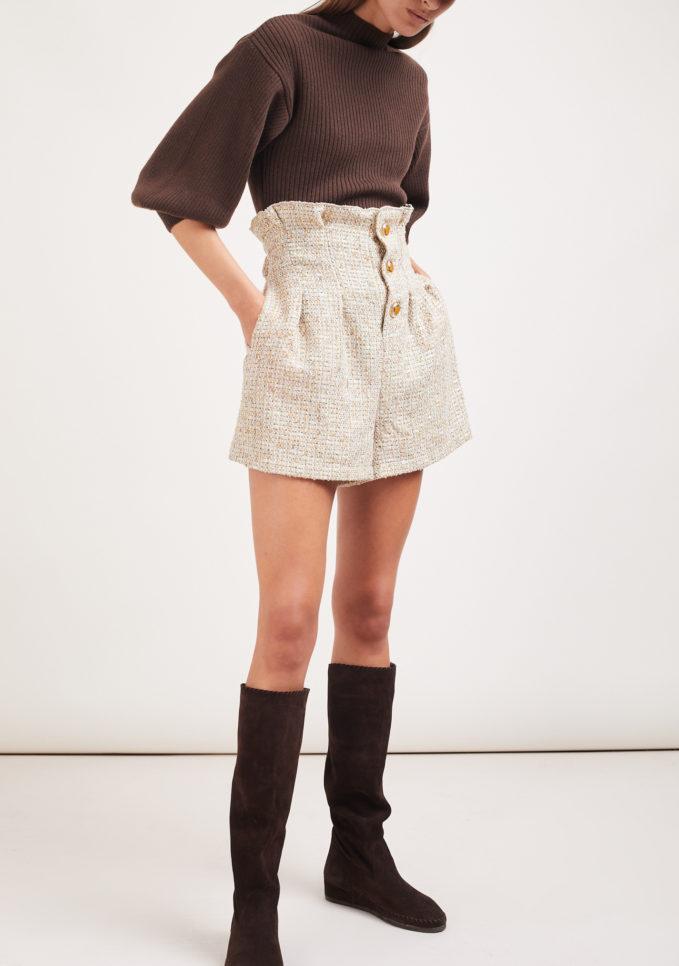 shorts beige Le globazine vita alta montalcino