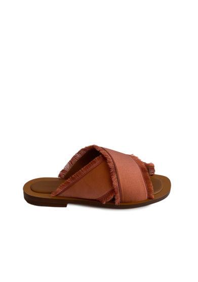 Ambleme sandali madrague in raso sfrangiato ruggine
