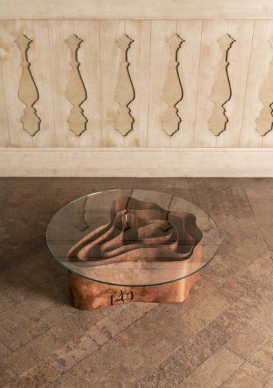 Cristallo resort tavolino tondo Dolomiè 1224 edizione Cristallo 120 Angelica De Paolis