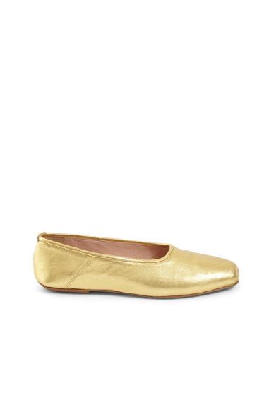 Gia couture ballerine pelle oro punta squadrata