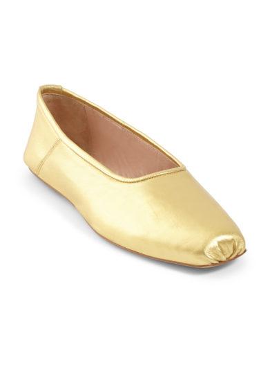 ballerine punta squadrata pelle oro Gia couture