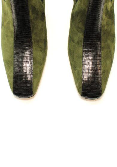 beatles in camoscio verde pino con tacco a.bocca