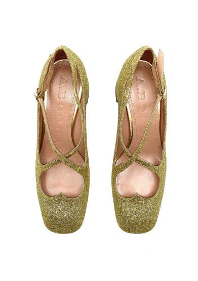 pump Two for Love in glitter oro A.bocca