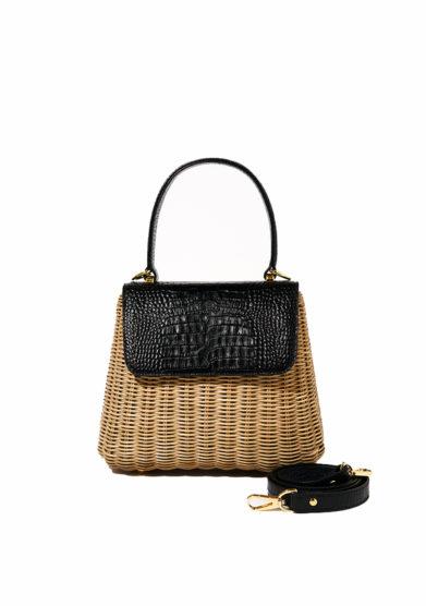 Amma borsa Calipso Black in midollino e pelle stampa cocco nera still