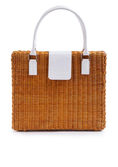 borsa ventiquattrore Driade in midollino e pelle bianca stampa cocco amma