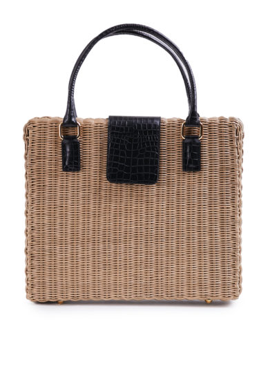 Amma borsa ventiquattrore Driade in midollino e pelle nera stampa cocco
