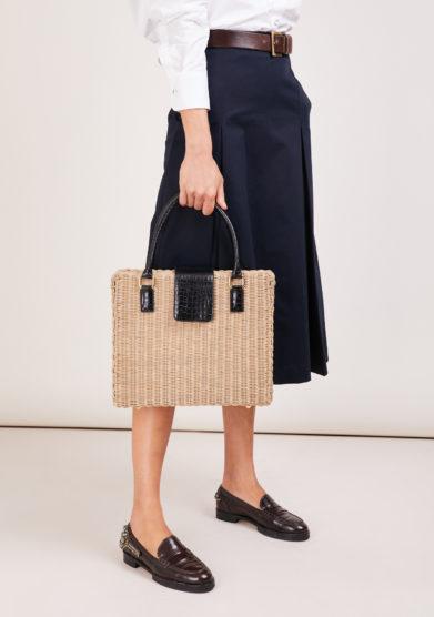 borsa ventiquattrore Amma Driade in midollino e pelle nera stampa cocco