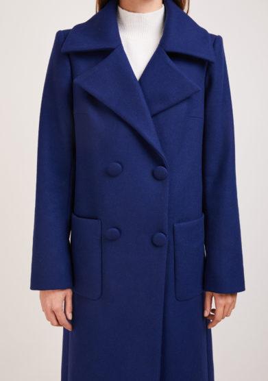 cappotto doppio petto lana blu Annagiulia firenze