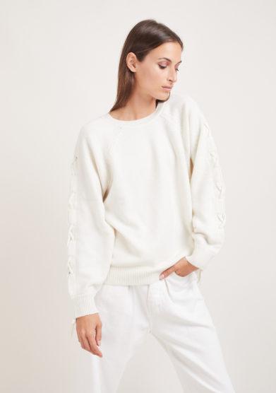 Irreplaceable Elisa Giordano maglia Rope lana e cashmere lacci incrociati panna taglia unica