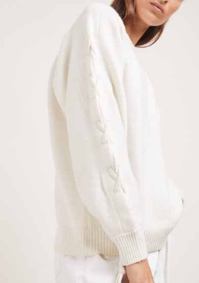 Elisa Giordano maglia Rope lana e cashmere lacci incrociati panna irreplaceable