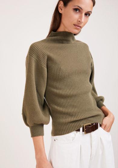 maglia Miami a coste in lana e cashmere verde militare Irreplaceable elisa giordano