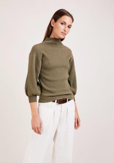 Irreplaceable elisa giordano maglia Miami a coste in lana e cashmere verde militare