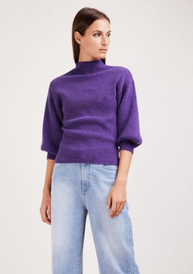 Irreplaceable elisa giordano maglia Miami a coste in lana e cashmere viola