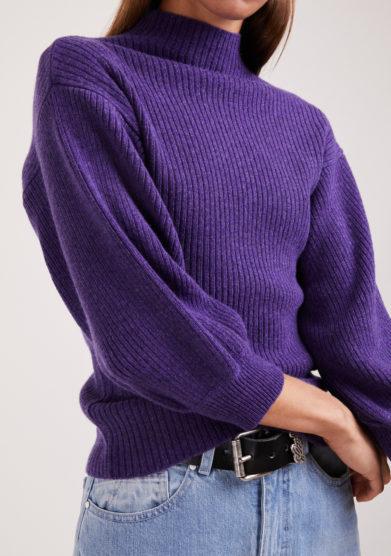 maglia Miami a coste in lana e cashmere viola Irreplaceable elisa giordano