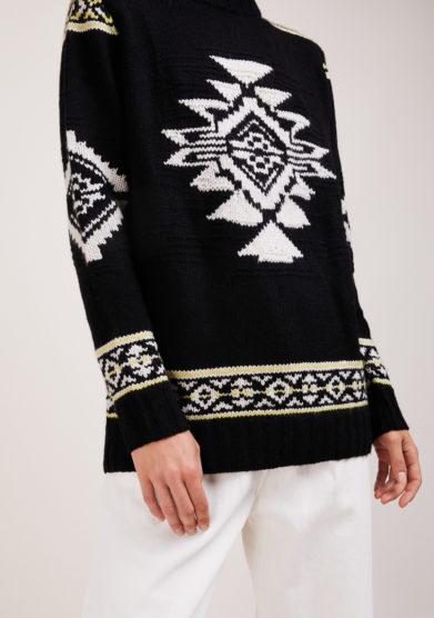 maglia Navajo lana e cashmere nera e bianca Irreplaceable elisa giordano