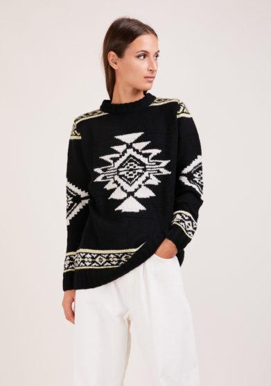 Irreplaceable elisa giordano maglia Navajo lana e cashmere nera e bianca