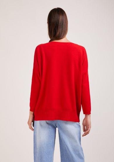 elisa giordano Irreplaceable maglia Torino in lana e cashmere rossa
