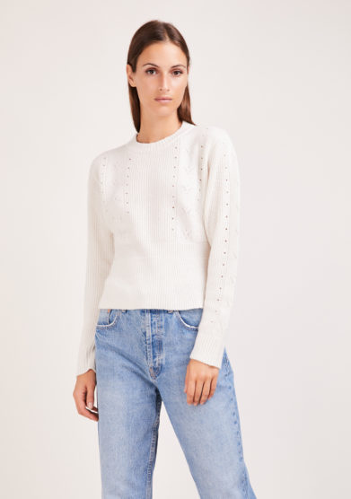 Irreplaceable maglia parisian balza lana e cashmere bianca