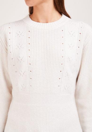 Irreplaceable elisa giordano maglia parisian balza lana e cashmere bianca