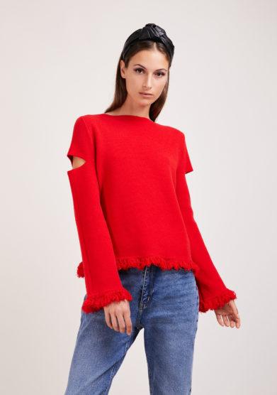 Irreplaceable elisa giordano maglia rossa lana e cashmere frange