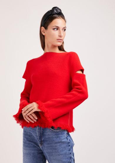 elisa giordano Irreplaceable maglia rossa lana e cashmere frange