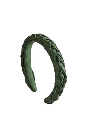 cerchietto Marzoline raso seta treccia verde oliva