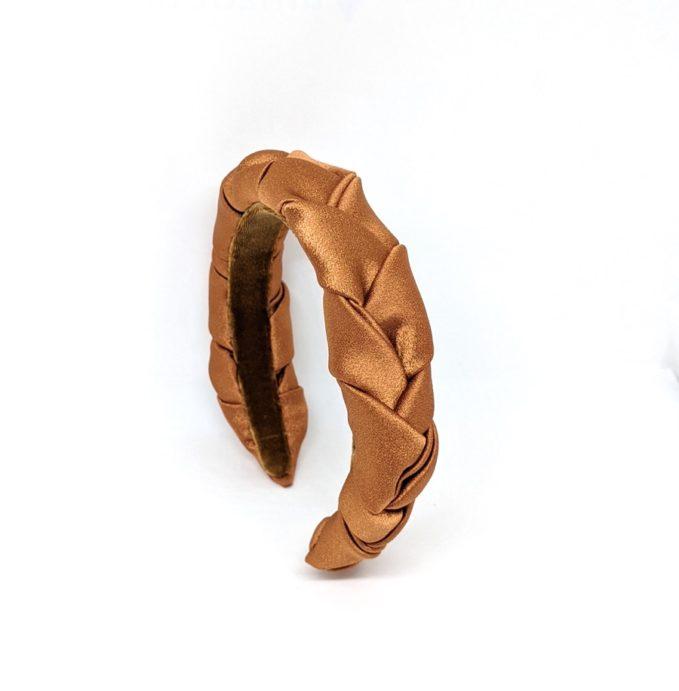 Marzoline cerchietto treccia raso bronze